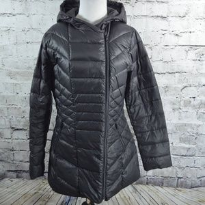 7a090cb69 Halogen Black Down Packable Puffer Hooded Jacket